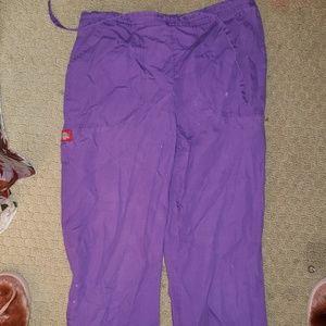 Purple dickies scrub bottoms with tie